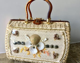 Vintage Summer Wicker Handbag - Lucite Frame & Handles, Shell Collage from Princess Charming by Atlas of Hollywood FLA - Made in Hong Kong