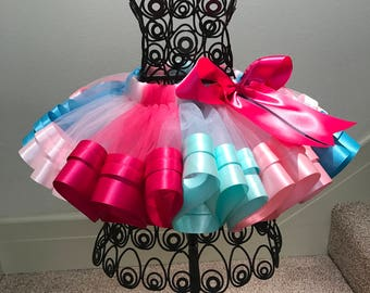 Muilt Colors Ribbon Tutu, Sewn Trimmed Tutu, Tutu Skirt, Girls Tutu, Tutu For Girls Party/ Birthday