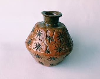FOR A COLLECTOR art studio pottery signed glazed ceramic vase texture home decor