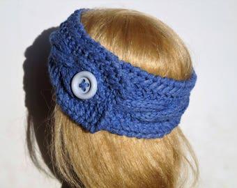 Blue Ear Warmer,100% Wool,Wool Headband,Wool Ear Warmer ,Handmade Ear warmer,Knitted Ear Warmer, Knitted Head Band, Winter Ear Warmer