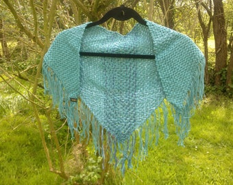 Green and blue triangle shawl with fringe
