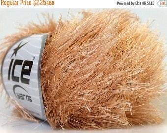SALE Eyelash Yarn -  Light brown fun fur yarn - Bulky novelty hand knitting yarn -  Ice Yarns Brand # 22750