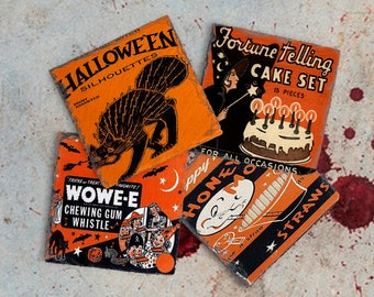 Halloween Decor Vintage Halloween Coaster Set, Hostess Gift, Slate Drink Coaster Set of Four, Holiday Coaster Set, Birthday Present Idea