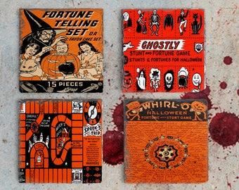 Halloween Decor Vintage Halloween Coaster Set, Hostess Gift, Slate Drink Coaster Set of Four, Holiday Coaster Set, Birthday Present Idea