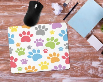 Paw Print Mouse Pad, Cat or Dog Lover Gift, Office Desk Accessories, Custom Personalized Mouse Pad, Office Supplies, Computer Desk Mousepad