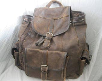 Large Distressed Leather Backpack Multi Compartments