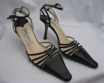 Black Leather Jimmy Choo Heels Size 37