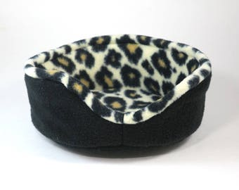 "Cuddle cup - 8""- black/cheetah print - guinea pig accessories - dwarf bunny -rat- pygmy hedgehog - READY TO SHIP"