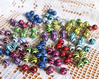 19 Pairs of Zebra Pattern Dangling Earrings / Red / Blue / Green / Purple / Black & White / Yellow / Pink