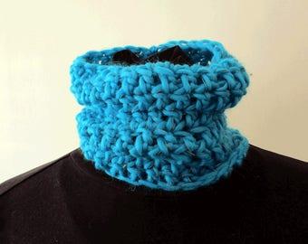 Collar Scarf (very close fit, deep) - reflective yarn - crochet, cosy, bright, warm, useful!