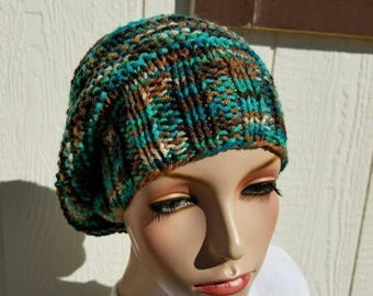 15% OFF SALE Handknitted slouchy hat, Ready to ship, Knitted hat, Knitted beanie, winter hat, Reef Toned hat, knitted women's hat