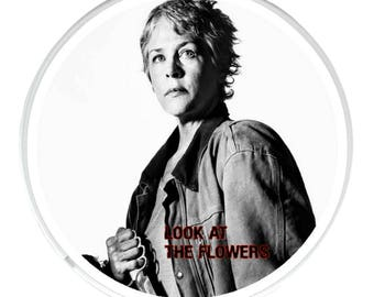Unique Round Drinks Coaster with a picture of Carol Peletier played by Melissa McBride in The Walking Dead.