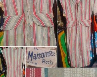 1940s Striped Cotton Dress with Peplum!