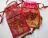 Embroidered, Keepsake Bag, Assorted Designs and Colours, Jewellery bag, TREE of Life, SNOWFLAKE, CHESTNUT leaf, gift, Natural themes.