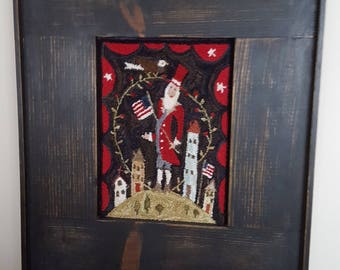 Home of the Brave Punch Needle Picture - Primitive - Americana - Handmade