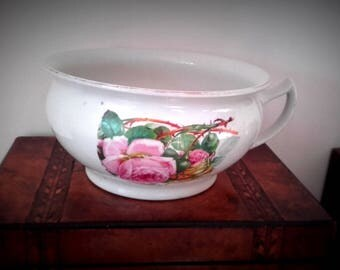 Antique Pink Thorny Rose Ceramic Chamber Pot Planter