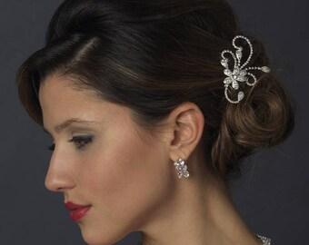 Floral Bridal Hair Comb, Bridal Hair Accessory, Rhinestone Bridal Comb, Floral Wedding Hair Comb,Wedding Hair Comb,Silver or Gold