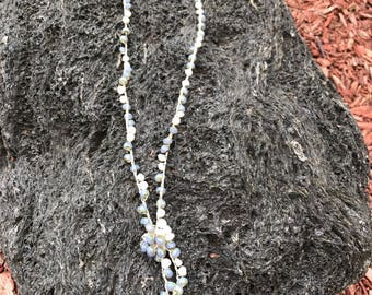 """Crocheted 42"""" Blue Lariat Necklace"""