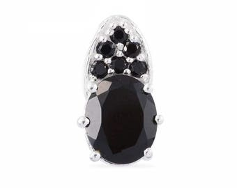 Thai Black Spinel Oval 10x8mm 925 Sterling Silver Pendant Without Chain TGW 3.40 cts.
