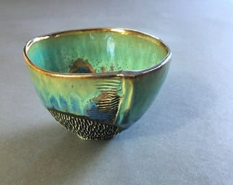 Large Tea Bowl in Green & Blue Crystalline Glaze, Hand Built Ceramic Cup for Matcha Tea, Ice Cream, and Kitchen Prep. 3.25 in tall Food Safe