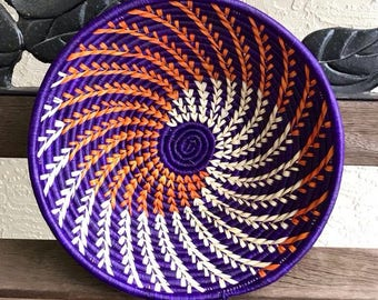 "African Basket hand woven by Ugandan Disabled Women. Approximately 12"" in diameter.(5X12) Item # 0204"