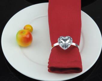 50 pcs Silver acrylic Napkin Rings, Rhinestone Wedding Napkin Rings Table Decor Diamante, Crystal  Wedding Bling,Wedding Napkin Holder NP14