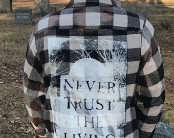 Never Trust The Living Acid Wash flannel