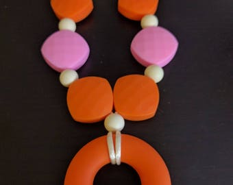 Silicon Teething/Nursing/Babywearing Necklace with Silicone Ring - Safety Clasp and Nylon Cord