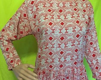 1980s Graphic Midi Dress, S