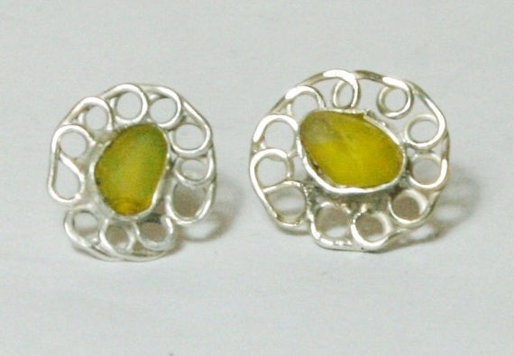 RARE YELLOW SEAGLASS Ear studs - Handmade in Sterling Silver