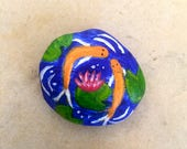 Miniature Koi and Water Lily Pond, Water Lilly Painted Rock, Fish Painted Rock, Dollhouse garden, Rock Art, Unique Gift Idea, 1.5x1.5