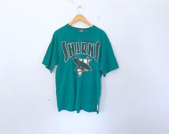 San Jose sharks , hockey , t shirt , clothing , vintage hockey , 90's , size xl