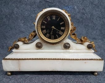 French Bronze White Marble Black Face Roman numeral Mantle Clock MOLLE PARIS 19th Cent