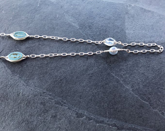Long Silver Boho Necklace, Wire Wrapped Light Blue Necklace, Light Blue Silver Necklace, Boho silver Jewelry