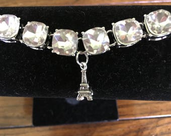 Glamorous Eiffel Tower charm bracelet. Rhinestonecharm bracet 13 stones with Paris Eiffel tower charm.let with