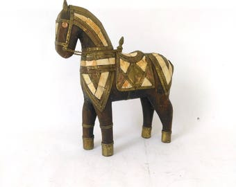 Antique Carved Wood Horse w/ Brass & Bone Inlay/ Rustic Wooden Horse/ Brass Wood Horse/ Horse Figurine/ Ethnic Folk Horse Carving/ Novelty