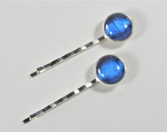 Morpho Butterfly Wing Hair Bobby Pins Set of 2 Silver Jewelry