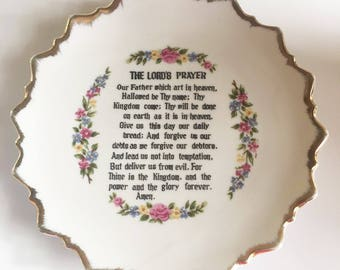 FREE Ship - Vintage Plate with LORD'S PRAYER and Flowers - Protestant - Made in Japan
