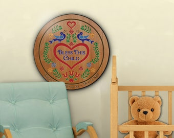 Hex Bless Child (12-16in) Hardwood PA Dutch Sign