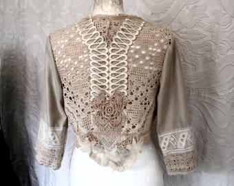 Bohemian cardigan,cottage chic jacket,repurposed crochet, gypsy lace clothing ,hippie inspired ,vintage cardi,handmade cardi,eco friendly