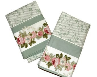 Vintage Laura Ashley Pair (2) Standard Pillowcases Avery Soft Sage Green Dusty Pink Roses Floral Vines New