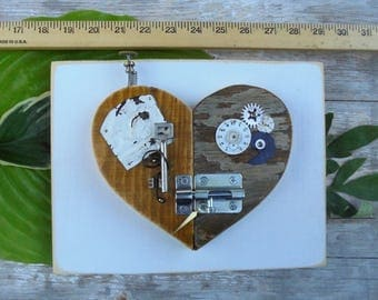 Steampunk Heart Art,OOAK Wedding Gift, Altered Art Gift, Mixed Media Heart,Assemblage,Upcycled Heart Art, Home Decor, Wall Hanging