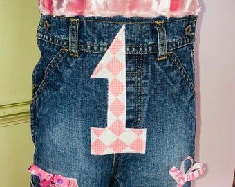 1st Birthday Girls Custom Overalls
