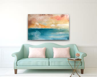 Large abstract painting,blue orange beige,large abstract,seascape painting,original abstract,acrylic on canvas,big wall art,large abstract