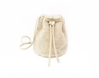 Beige Shearling Bucket Bag - Sheepskin Purse
