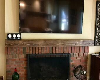 "Fireplace mantel. Rugged Wood Mantel.Floating shelf.Fireplace Mantle .60"" Long x 5.5"" Tall x 5.5"" Deep.TV Shelf.Fireplace Decor"