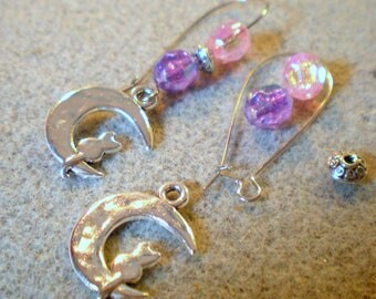 KIT gourdes EARRINGS * pink and purple cat * silver plated hooks