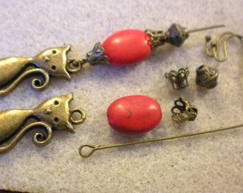 Kit Earrings only * serene, tranquil Howlite * red cat