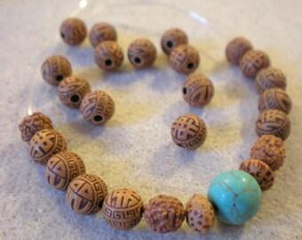 Yoga BRACELET KIT * Perle Howlite turquoise and Buddha beads * 9 mm