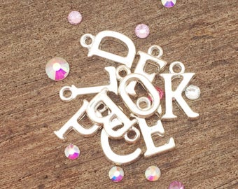 Add on charm, add on initial, add in item, initial charm, silver initial charm, letters, alphabet, personalised, personalized, findings,
